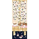 濱文様 絵てぬぐい 豆柴と猫の春 ベージュ