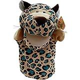 RETYLY 可愛いぬいぐるみベロア 動物ハンドパペット シックなデザイン 子供の学習支援玩具(ヒョウ) 金色