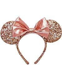 【ディズニー】 Disney カチューシャ ミニー型 ホログラム ピンクゴールド リボン 香港 HKDL 海外ディズニー限定
