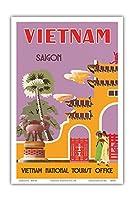 ベトナム - サイゴン(ホーチミンシティ) - ベトナムナショナルツーリストオフィス - ビンテージな世界旅行のポスター c.1950s - アートポスター - 23cm x 31cm