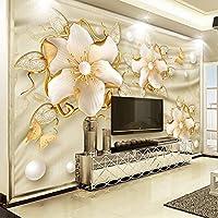 Xbwy ヨーロピアンスタイルの高級壁紙3Dゴールデンジュエリー花シルクウォールペーパーリビングルームテレビソファ背景壁カバー家の装飾-200X140Cm