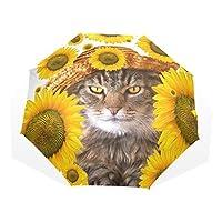 VAWA おりたたみ傘 軽量 手動開閉 おしゃれ かわいい 猫柄 花柄 向日葵 折り畳み傘 雨傘 レディース 晴雨兼用 8本骨 収納ケース付き