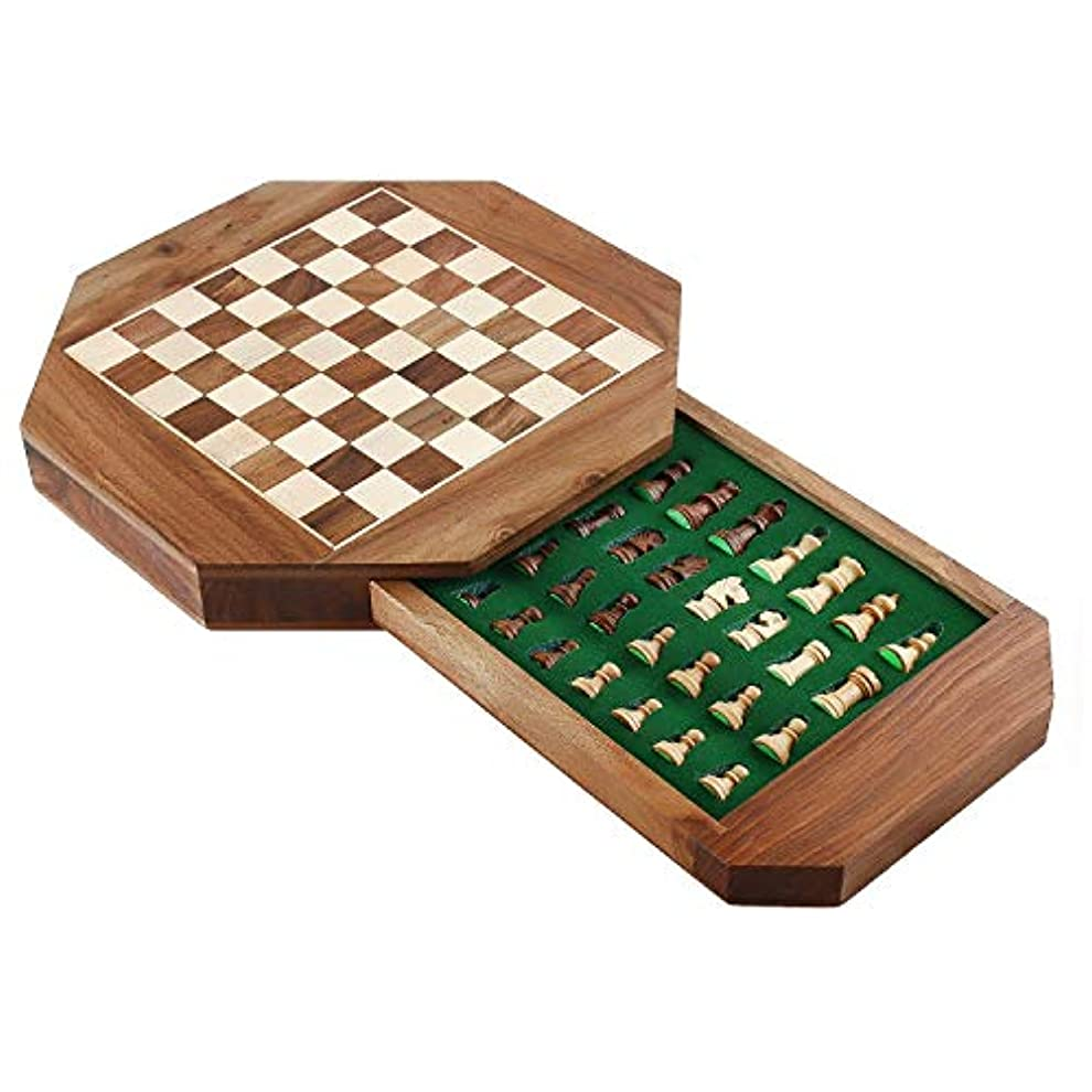 [ザップインペックス]Zap Impex ® Wooden magnetic chess Octangle ChessMen Set Wooden Board Travel Games 9 Inches LYSB01HEM4SJU-TOYS [並行輸入品]