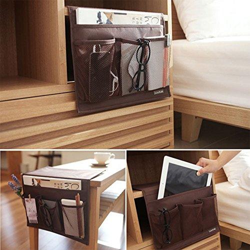 ベッド サイド ポケット ソファー こたつ テーブル掛け袋 テーブル小物 整理 収納ポケット インテリア装飾品 便利 多機能 三色 SPH-048 (コーヒー色)