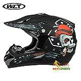 バイクヘルメット オフロード 軽量ヘルメット モンスターエナジー ゴーグル付き[骸骨・黒(艶消し)/M]