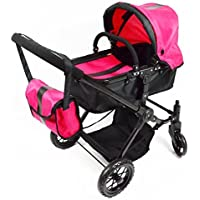 Pink Babyboo Deluxe Convertible Doll Stroller with Swiveling Wheels and FREE Carriage Bag by The New York Doll Collection [並行輸入品]