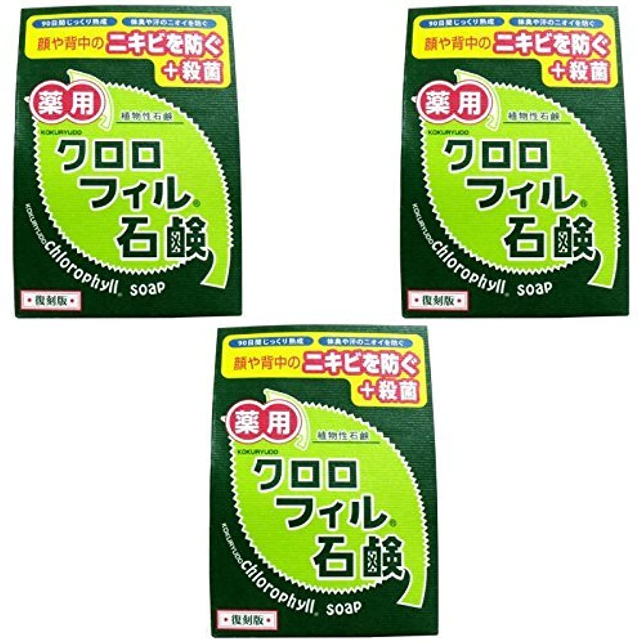 ヘビ努力絶え間ない【まとめ買い】クロロフィル石鹸 復刻版 85g (医薬部外品)【×3個】