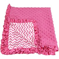 Girls Hot Pink Chevron Print Minky Baby Soft Blanket Receiving Size by Hairbowsunlimited.com