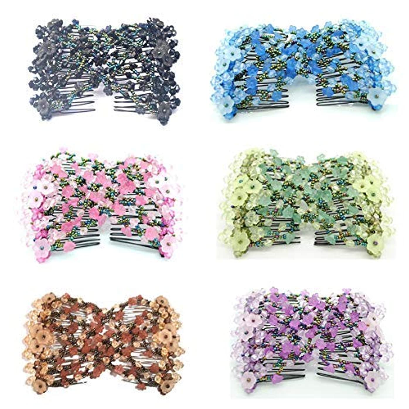 平らにする郵便屋さんフェミニンCasualfashion 6Pcs Magic Ez Combs for Women Hair Bun Maker Accessories, Elastic Beaded Double Hair Clips Combs...