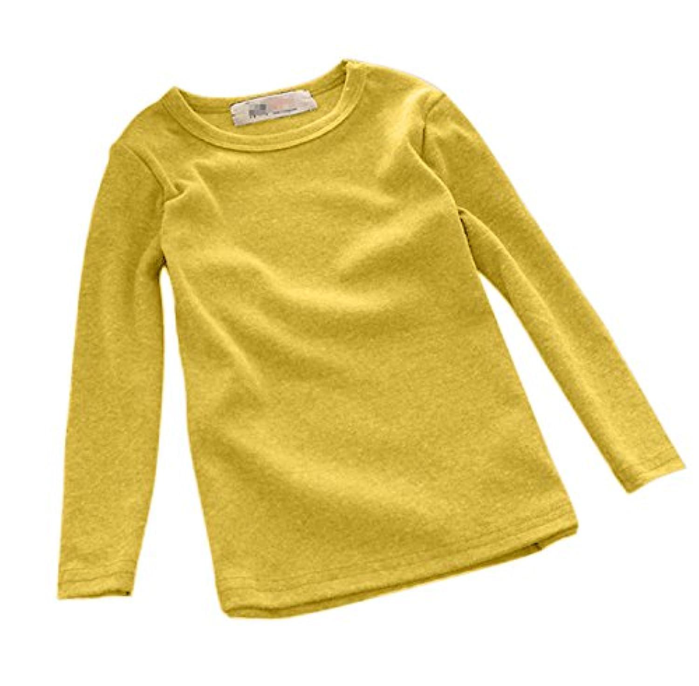 Plus Nao(プラスナオ) 長袖カットソー Tシャツ ロンT トップス 子供服 キッズ KIDS シンプル 無地 定番 ベーシック ラウンドネック クルー