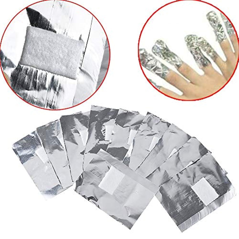 アクリル UVジェル ネイルポリッシュをきれいにオフ コットン付きアルミホイル 素敵な在宅ゲル爪マニキュア用品200pcs