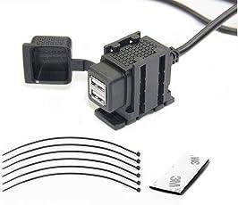 XBERSTAR バイク USB電源 充電器 3.1A USB2ポート 防水 3Mテープ&結束バンド付 オートバイのハンドルに取り付け可能