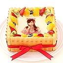 写真ケーキ スクエア型(5号16cm) ビスキュイ付きフレッシュフルーツ乗せフレッシュ生クリームショートケーキ