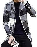 【SEBLES】メンズ アウター コート チェック柄 格子柄 ロング丈 チェスターコート カジュアル グレー M