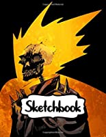 Sketchbook: Ghost Rider Soft Glossy Sketchbook with Blank Lined Paper for Taking Notes Writing Workbook for Teens and Children Students School Kids Inexpensive Gift For Boys and Girls