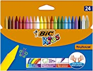 BIC 829772 Kids Plastidecor Colouring Crayons - Assorted Colours, Pack of 24