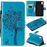 iPhone XR ケース Conber PUレザー 手帳型 軽量 超薄型 耐衝撃 財布型 カバー Apple iPhone XR 用 スタンド機能 カード収納 全面保護 猫と木 ケース - ブルー