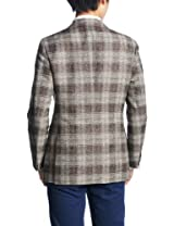 Linen Cotton Plaid 2-button Patch Pokcet Jacket 3122-110-0357: Brown