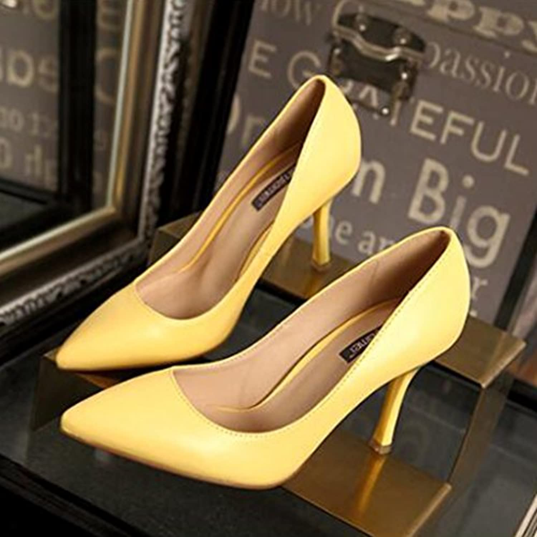 女性の夏はハイヒールをハイチップシングルシューズでセクシーな罰金作業靴エレガントな革ハイヒール (Color : Yellow, Size : 36)