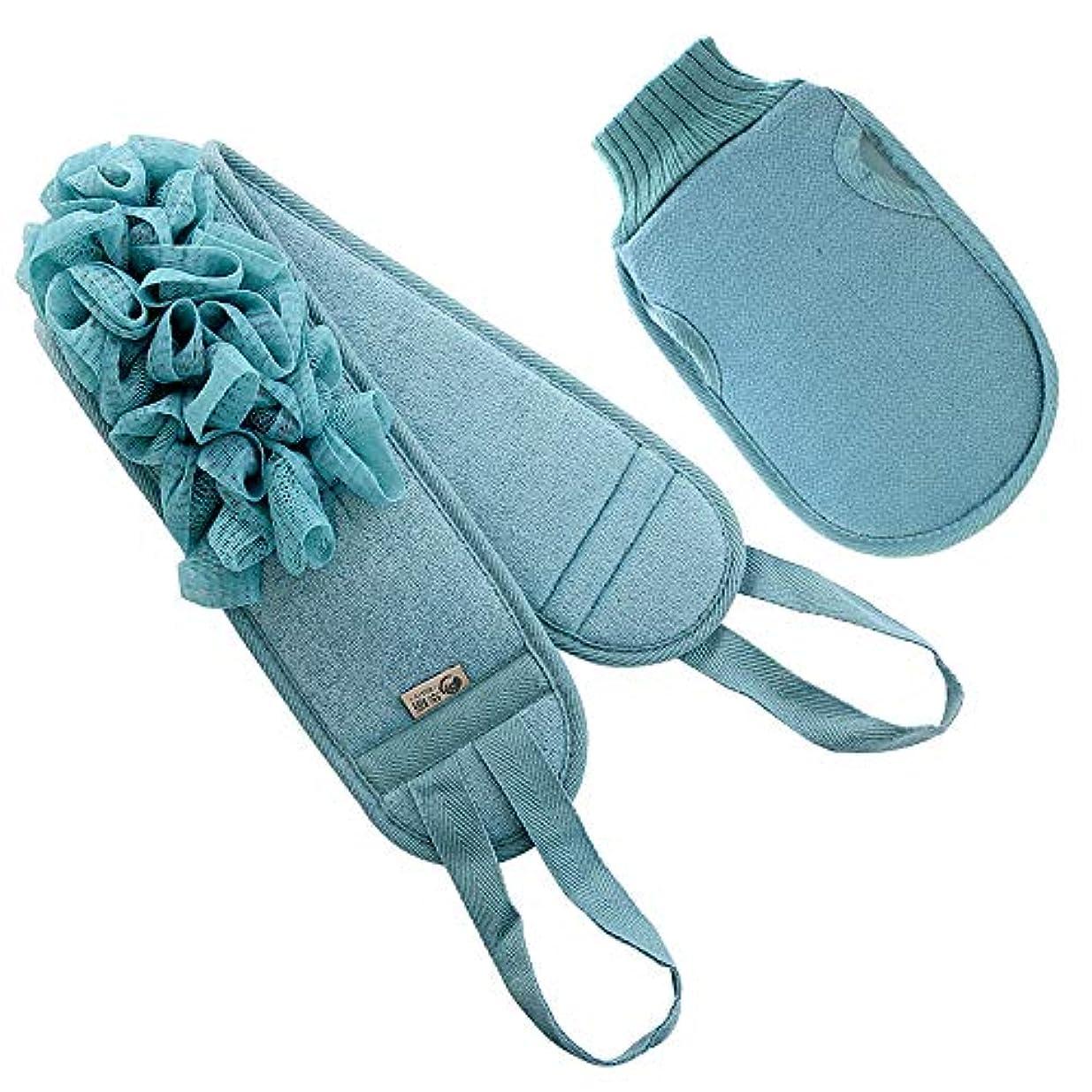 材料石のパステルあかすり 垢すりタオル ボディースポンジ シャワーブラシ ベルト両面用 血行促進 角質除去 男女兼用 (ブルー)