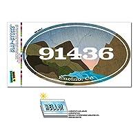 91436 エンシーノ, CA - 川岩 - 楕円形郵便番号ステッカー