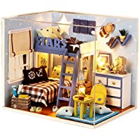 Sellworld DIY Dollhouses Wooden DIY House Kit Small House With LED Light and Cover/Meet Stars