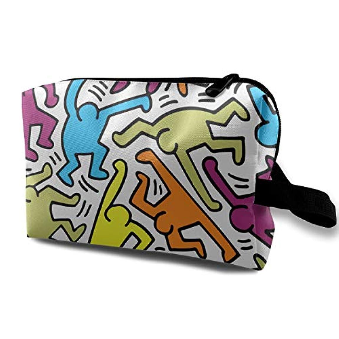 ヒップ遷移ライブアート プリント Keith Haring カラフル 化粧ポーチ メイクポーチ コスメケース 洗面用具入れ 小物入れ 大容量 化粧品収納 コスメ 出張 海外 旅行バッグ 普段使い 軽量 防水 持ち運び