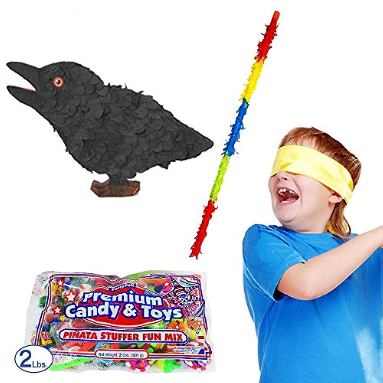 Pinatas CrowハロウィンPinataキットIncluding Pinata , Buster Stick、バンダナ、2ポンド。Candy Filler