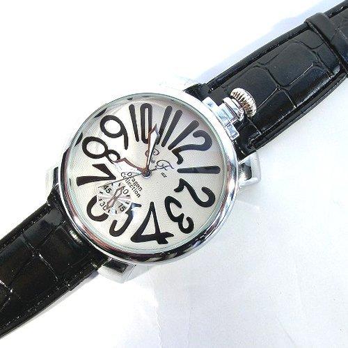 ブラック×ホワイト(C) トップリューズ式ビッグフェイス腕時計 プレーンタイプ47mm GaGa MILANO ガガミラノ好きに(全4色)