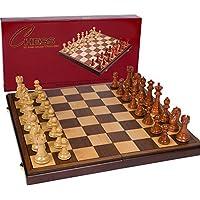 Abigail折り畳みチェス盤 寄せ木細工21インチ、駒付きセット