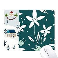 緑の白い花の植物塗料 サンタクロース家屋ゴムのマウスパッド