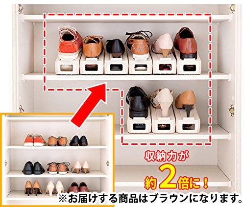 レック 省スペース 靴スタンド 男女兼用 ( 6足分 ) ブラウン O-903