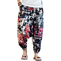 besbomig Indian Harem Pants Yoga Boho Gypsy Hippie Trousers Loose Fit Cotton Linen for Men and Women