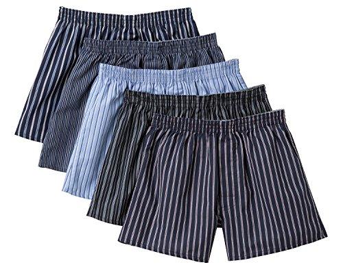 [セシール] パンツ 綿100% 先染めチェックトランクス(柄違い5枚組セット・前開き) AKT-317 BB L