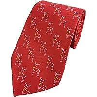 Mens Winter Reindeer Print Holiday Christmas Neckties Tie Woven Neck Tie