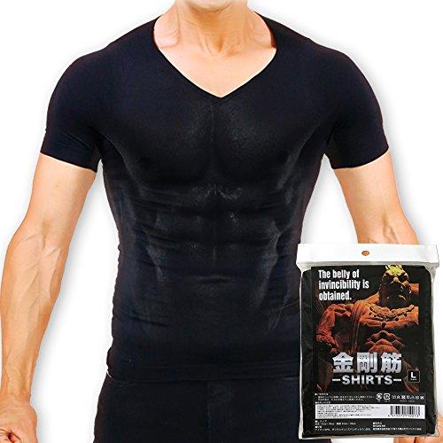 【正規販売店】金剛筋シャツ|加圧シャツ インナー Vネック 抗菌消臭 (ブラック, L)