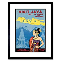 Travel Java Island Indonesia Temple Orient Jungle Mountain Framed Wall Art Print 旅行島インドネシア寺院オリエントジャングル山壁