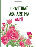I Love That You Are My Aunt: Blank Lined Notebook, Aunt Birthday Gifts Ideas, Gifts For Aunts, Aunt Gifts For Mothers Day, Best Aunt
