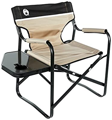 Coleman Flat Foldable Director's Steel Deck Chair with Side Table, Grey