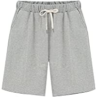 Women's Elastic Waist Soft Knit Jersey Bermuda Shorts with Drawstring