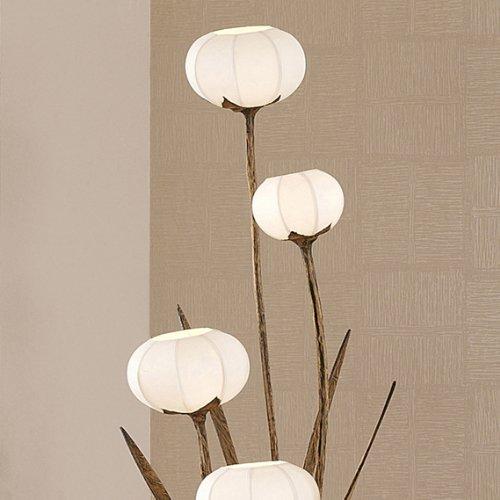 韓国製 韓紙(桑紙)照明 鉢花・フラワーモチーフ 丸型 手作り ホワイト ランプシェード アンティーク フロアライト ベッドルームライト