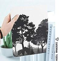 IPadケース スマートカバー アイパッドケース タブレットカバー アイパッド第四世代 第三世代 夏の森の松とモミの木草ブッシュシルエット装飾