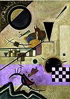 手書き-キャンバスの油絵 - 美術大学の先生直筆 - Contrasting sounds Wassily Kandinsky 抽象画 絵画 洋画 複製画 by Wassily Kandinsky ウォールアートデコレーション -サイズ04