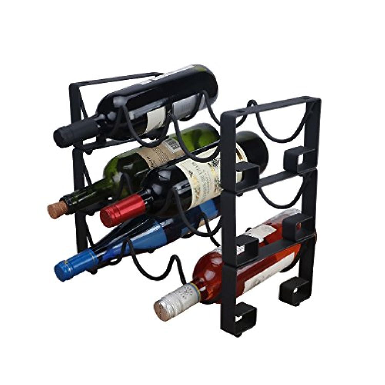 ワインラック無料スタンド可能9ボトルアイアンワインボトルホルダーブラッククリエイティブデコレーション(サイズ:33.5 * 17.5 * 31cm)
