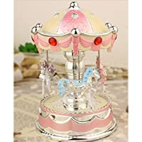 (Pink) - XuanMax Rotating Carousel Music Box 3-horse Merry-Go-Round Toy with To Alice Melody Colourful Changing LED Night Light for Christmas Birthday Valentine's Day - Pink