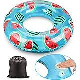 Formemory 浮輪 浮き輪 大人用 子供用 水遊び 収納袋付き 持ち運びに便利 直径80cm 水泳プールビーチパーティー 厚手で防水 空気入れ 浮遊 スイカ ファッション 海やプールで楽しさ倍増 スイミング道具 浮具(スイカ浮き輪)
