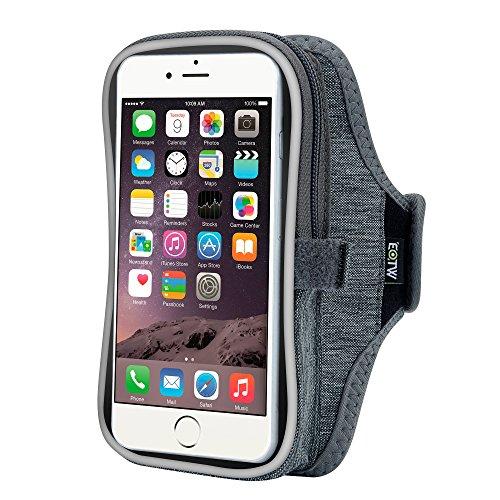 EOTW iPhone6/6S plusランニング アームバンド ウォーキング ジョギング ケース ヘッドフォンホルダー付 iPhone6/6S plus、iPhone7プラス、 Galaxy S7edge/Note5、 Xperia XZ/Z5等大画面スマホ用 ファッショナブル スマホ アームバンド ポーチ 収納ポケット付 (グレー(5.5インチ))