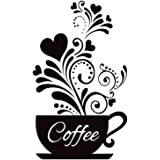 """SITAKE """"Coffee Cup + Flower"""" Wall Decor Sticker, Black Coffee Decor for Coffee Bar and Coffee Station, Removable Kitchen Sign"""