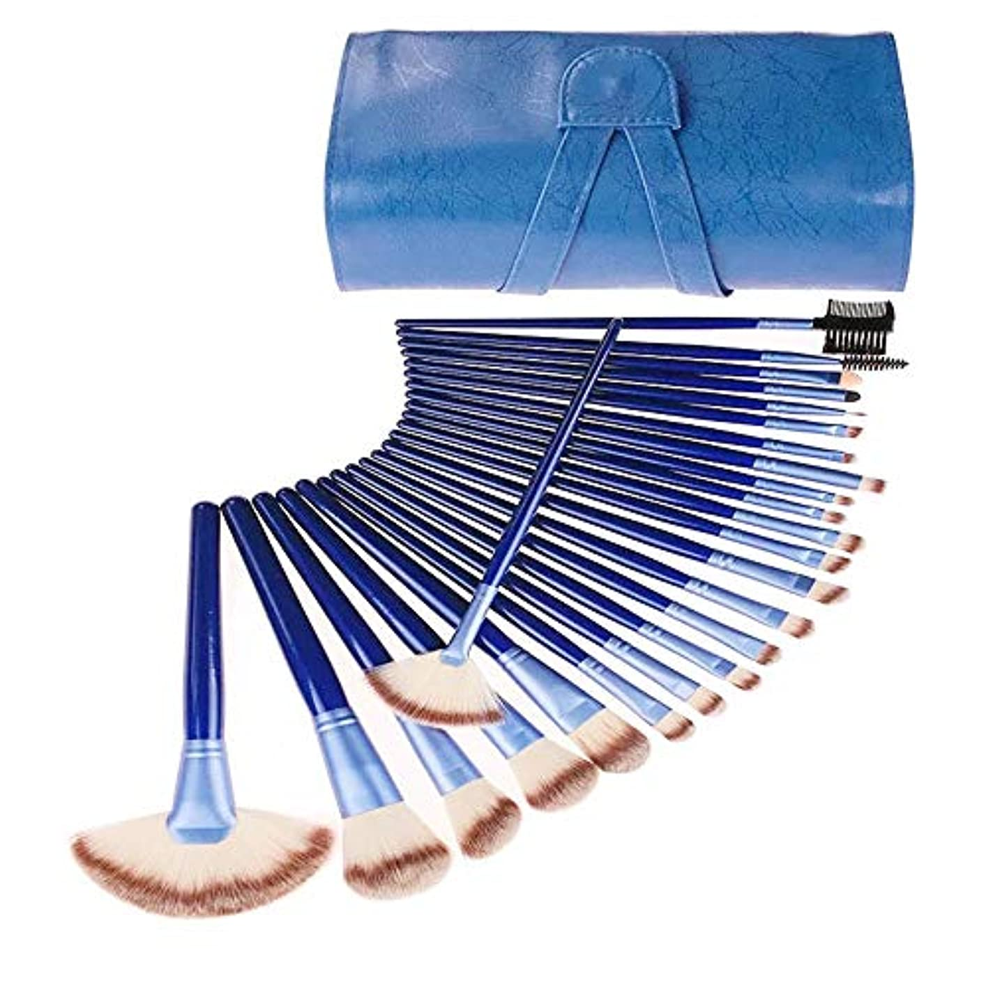 バッテリーじゃない火山学者CHANGYUXINTAI-HUAZHUANGSHUA 青化粧品のすべての種類に適した24個のプロのメイクアップブラシ、 (Color : Blue)