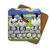 Irish Coaster With 3Sheep on the Wall Playing Music with theテキスト' BL–Ewe Grass '